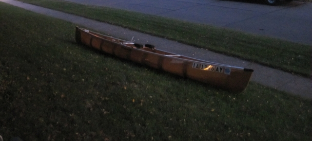 John's canoe in the dawn glow